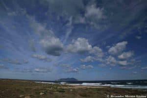 Vegetazione costiera presso Calazza, sull'isola di Favignana sullo sfondo l'isola di Marettimo